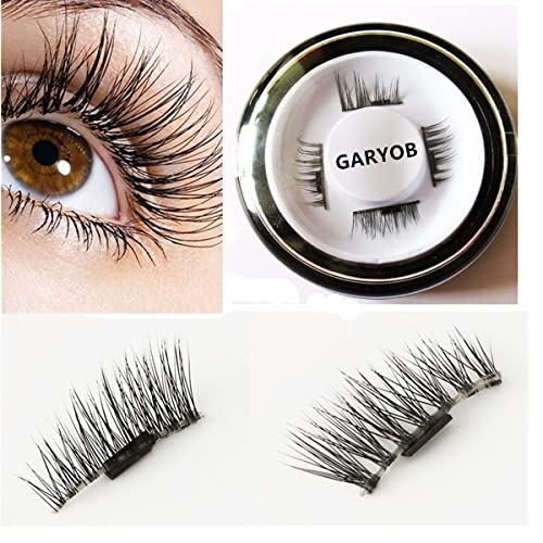 GARYOB False Magnetic Eyelashes by GARYOB, 0.2mm Ultra-thin 3D Fiber for Natural Look, Cruelty Free, Reusable Perfect for Deep Set Eyes & Round Eyes, 1 Pair 4 Pieces