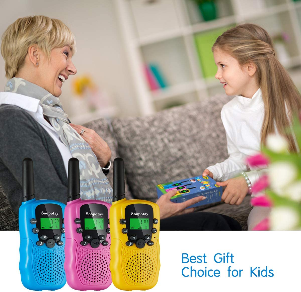 Kids Two-Way Radios Toys with LCD Flashlight and 22 Channels Long Distance Kids Walkie Talkies for 3-12 Years Old Boys SOOPOTAY Walkie Talkie for Kids 2 Pack Indoor and Outdoor Game