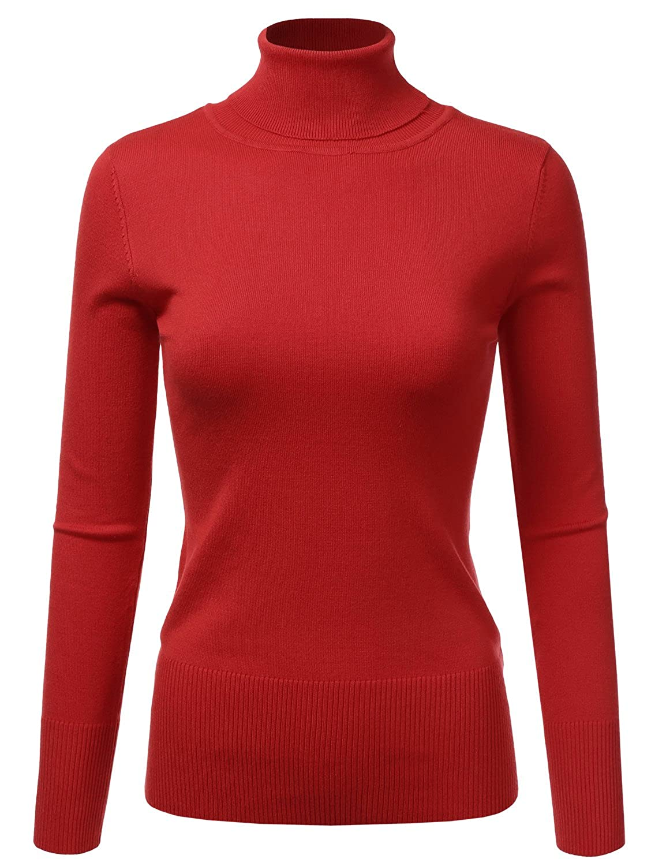 5eb33e39be8f2e Doublju Basic Long Sleeve Ribbed Knit Turtleneck Sweater for Women RED  X-Large at Amazon Women's Clothing store: