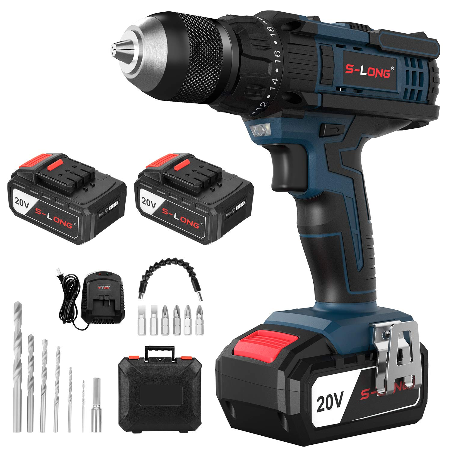 20V Cordless Drill with 2 Batteries and Charger,1/2 Inch Cordless Drill Set,Variable Speed Drill Driver Cordless by S-LONG by S-LONG (Image #8)