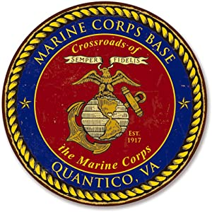 Classic America United States Marines Emblem Metal Sign - US Marine Corps USMC Logo, 12 Inch Round Wall Decor.