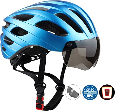 KINGLEAD Casco de Bicicleta con Luz de Seguridad y Visera ...