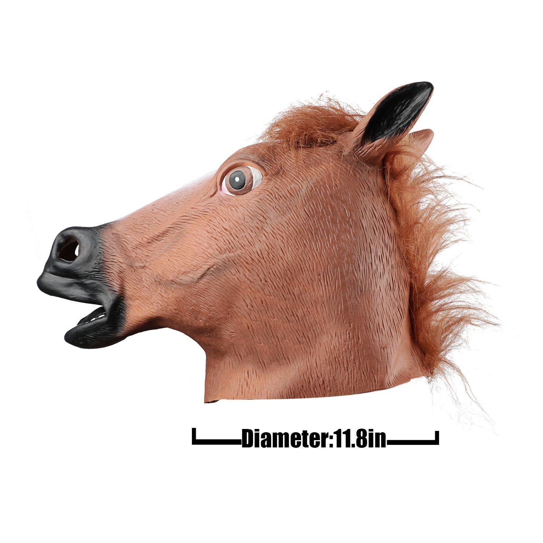 Starall Realistic Horse Head Masks Full Head Fur Mane Latex Creepy Animal Mask For Halloween Party Costume Props