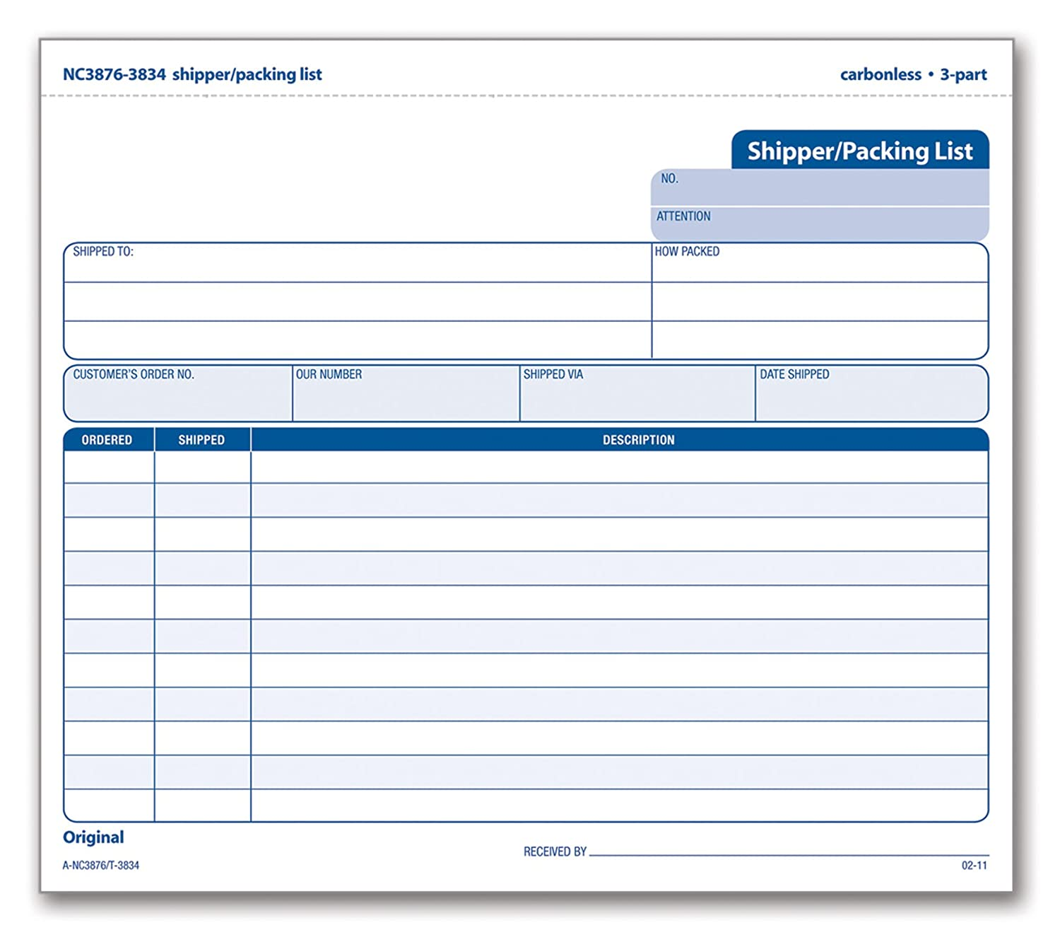 com tops shipper packing list form triplicate com tops shipper packing list form triplicate carbonless 8 5 x 7 inches 50 sets per pack 3834 blank shipping forms office products