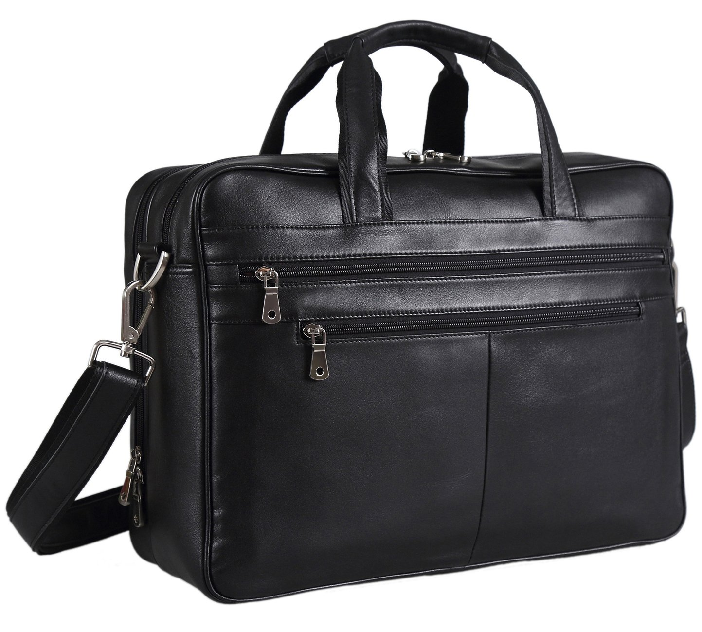 Polare Real Soft Nappa Leather 17 Laptop Case Professional Briefcase Business Bag For Men (Black)