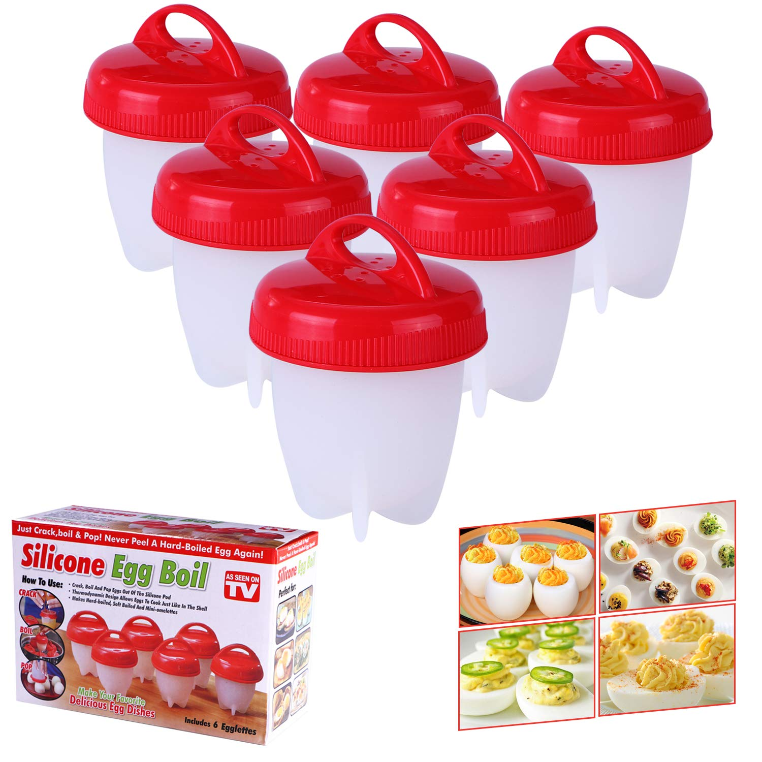 Yeahbeer Egg Cooker Hard & Soft Make,Non Stick Silicone,No Shell,Boiled,Poacher, Steamer, AS SEEN ON TV,6 pack