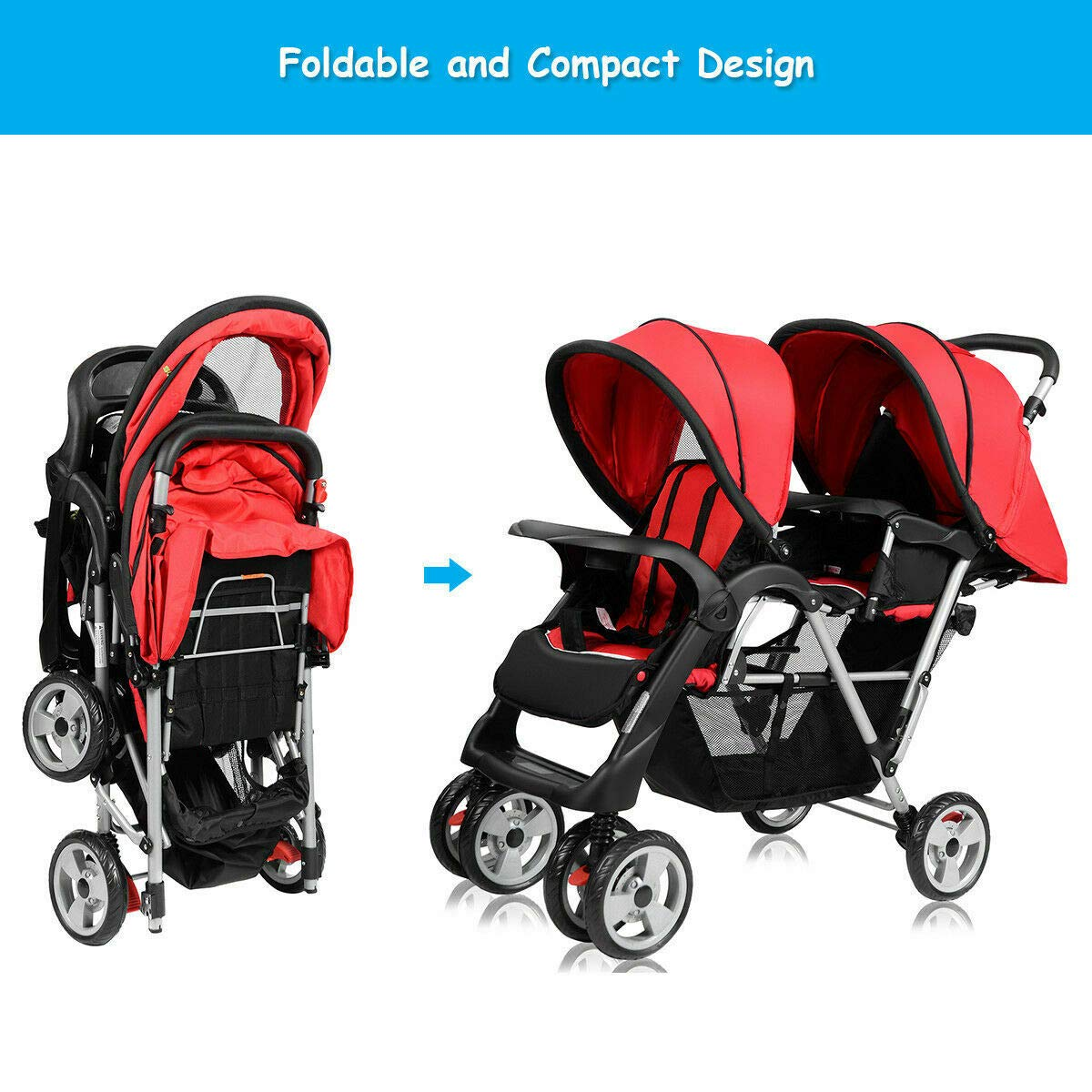 Cozinest Foldable Twin Baby Double Stroller Kids Jogger Travel Infant Pushchair Red by Cozinest (Image #5)