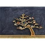 Leowefowa Vinyl 7X5FT Creative Bookshelf Backdrop Wood Tree Branch Gloomy Blurry Wallpaper Shabby Wooden Floor Interior…
