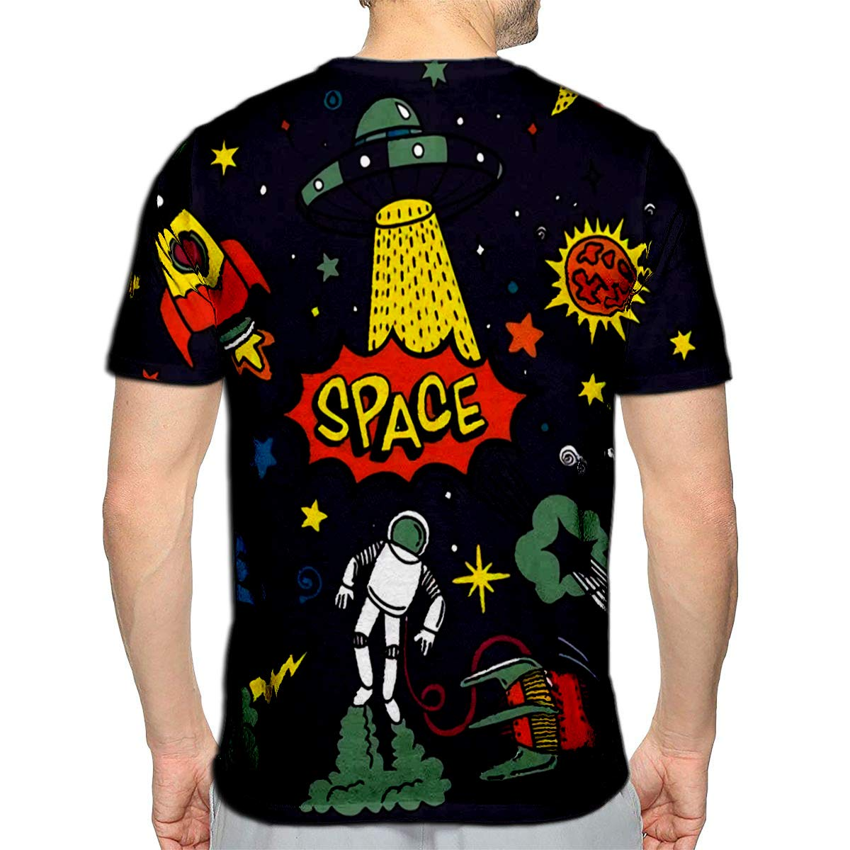 3D Printed T-Shirts Space Night Sky Texture Objects Text Cute Template Wi Short