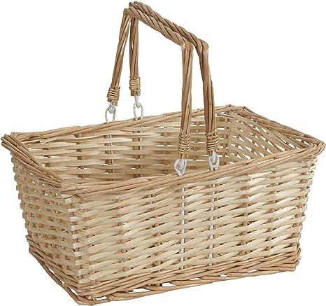 White Swing Handle Wicker Shopping Basket