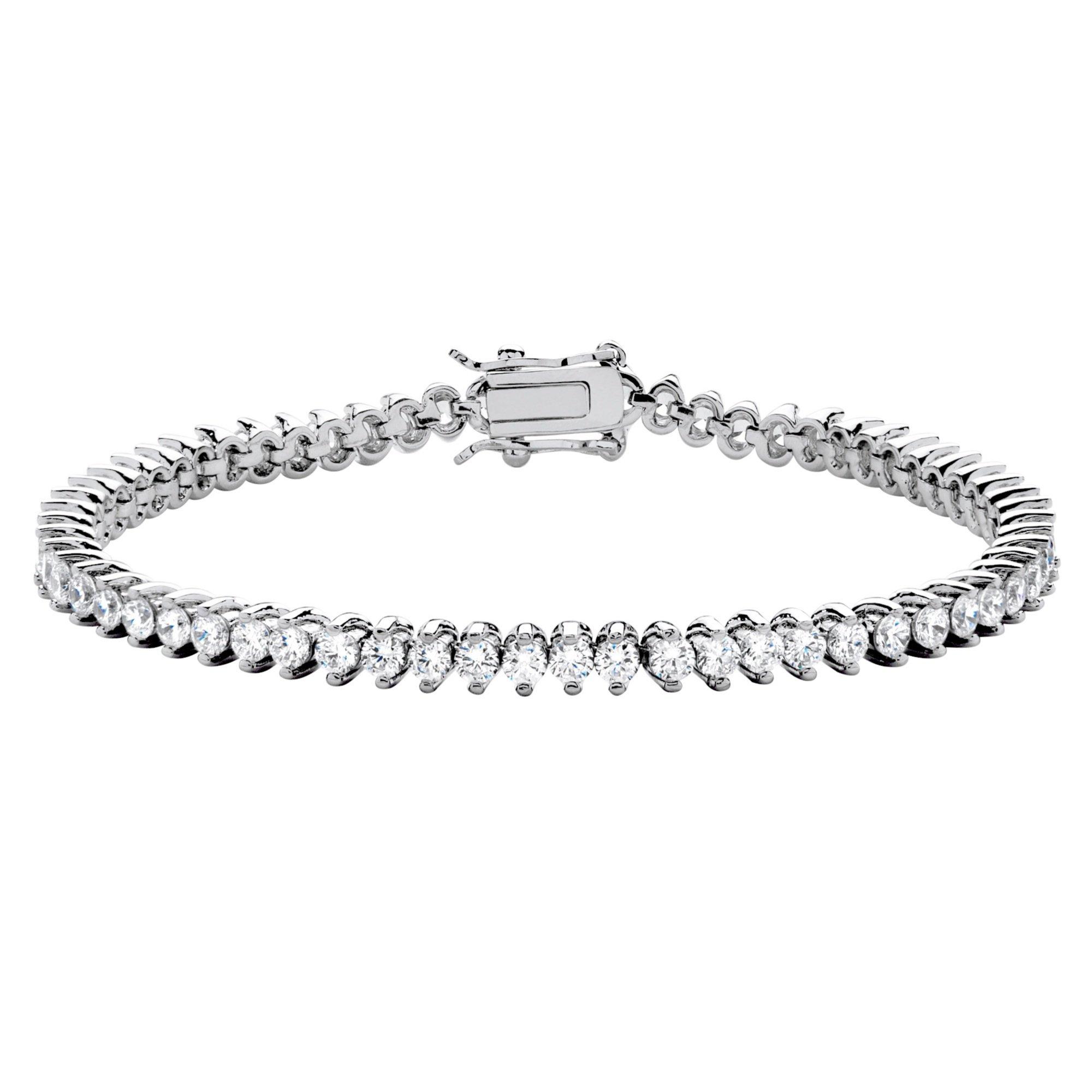 Seta Jewelry White Cubic Zirconia Platinum-Plated Tennis Bracelet 7.5''