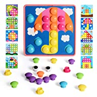 NextX Button Art Toddler Game, Color Matching Pegboard Educational Toy, Toddler Activities Learning Button Blocks, Stem Toys for 2+ Years Old for Boys & Girls