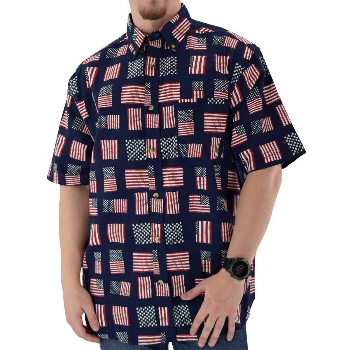USA Rushmore We The People USA Flag Mens 100/% Cotton Woven Fabric Patriotic Polo Shirt