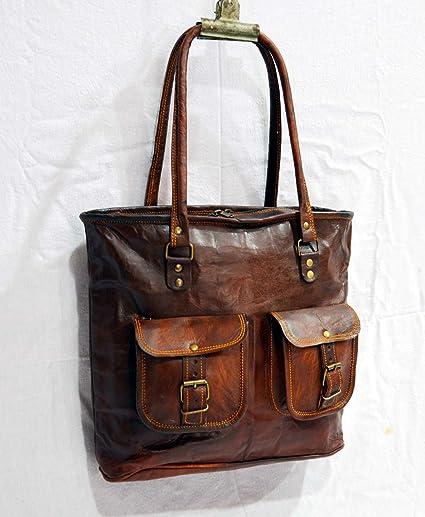 b8f7fce00f50 Amazon.com  Real leather vintage ladies bag goat hide handbag tote ...