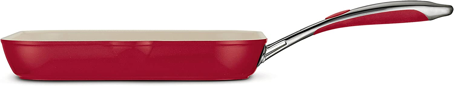 Tramontina 80110/060DS Gourmet Ceramica Deluxe Aluminum Square Grill Pan, PFOA- PTFE- Lead and Cadmium-Free Ceramic Exterior & Interior, 11-inch, Metallic Red, Made in Italy