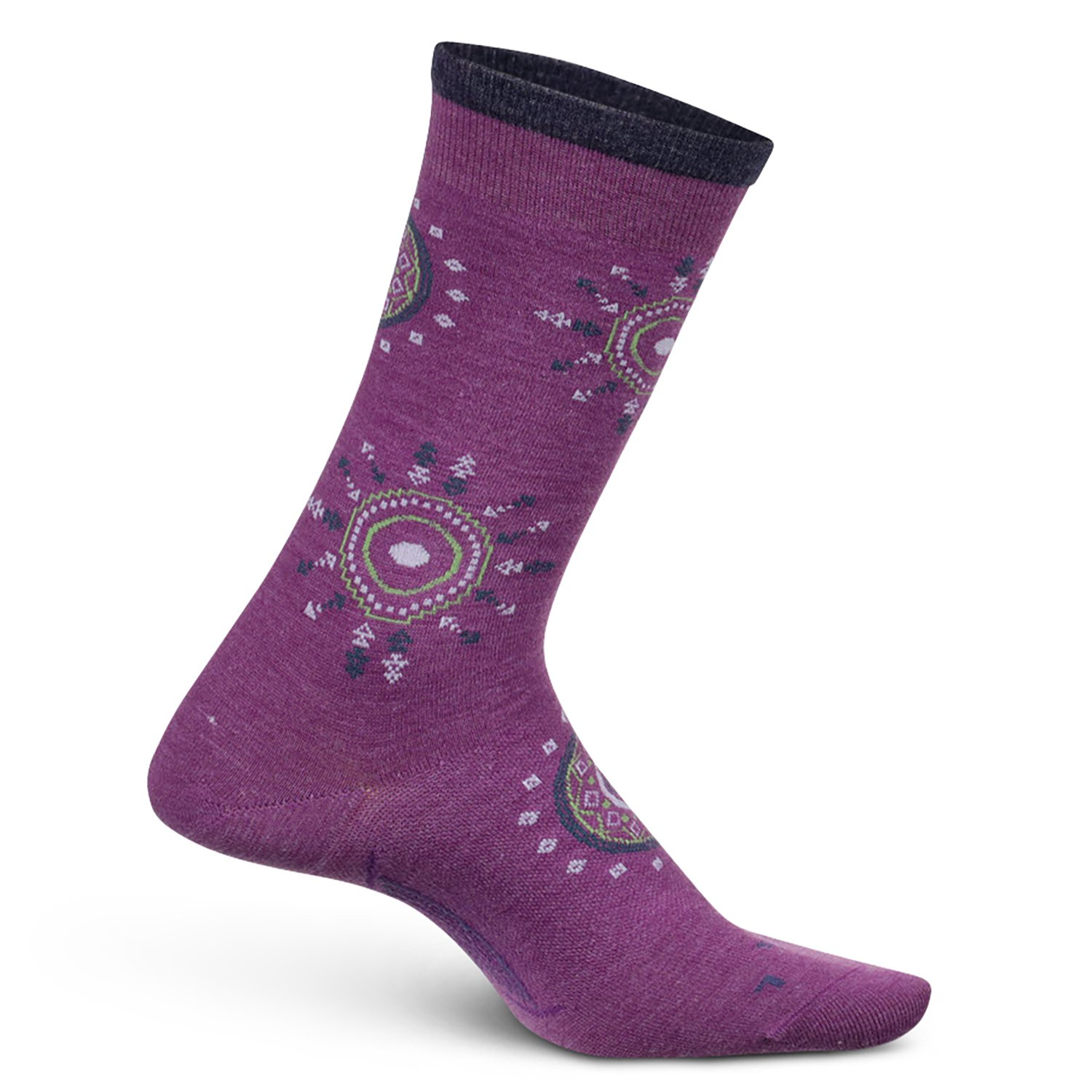 Feetures Women's Everyday Performance Dress Sock - Sunburst Ultra Light Crew - Berry - Size Large