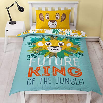 Lion King Disney Simba Single Duvet Cover | Officially Licensed Reversible Two Sided King of The Jungle Design with Matching Pillow Case: Home & Kitchen