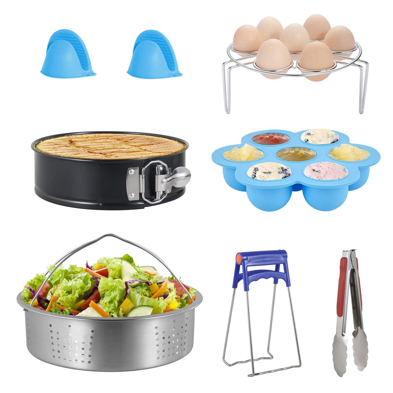 Ensemble de 7 Instant Pot accessoires paniers vapeur en Acier inoxydable Légumes Vapeur Rack Egg Support Compatible avec Moulinex, COSORI, Philips, Tefal, Aigostar 5/6L 5,6,8qt Autocuiseur Electrique