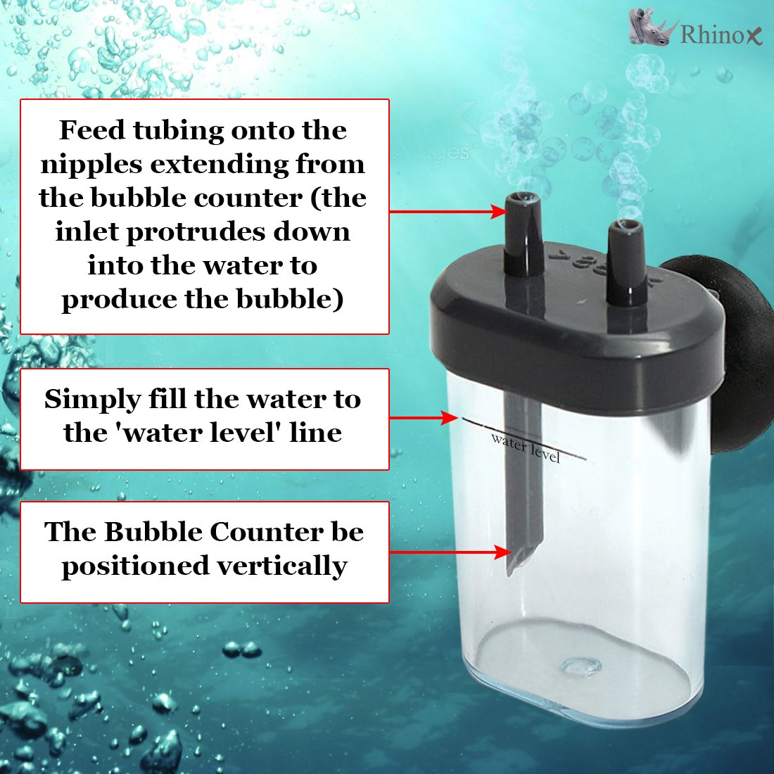 BPA-Free Plastic Rhinox DIY Co2 Bubble Counter - Accurate Co2 Reading for Healthier Fish and Aquatic Plants - Quick & Simple to Connect to Aquariums - Used with Rhinox Co2 Diffuser Set
