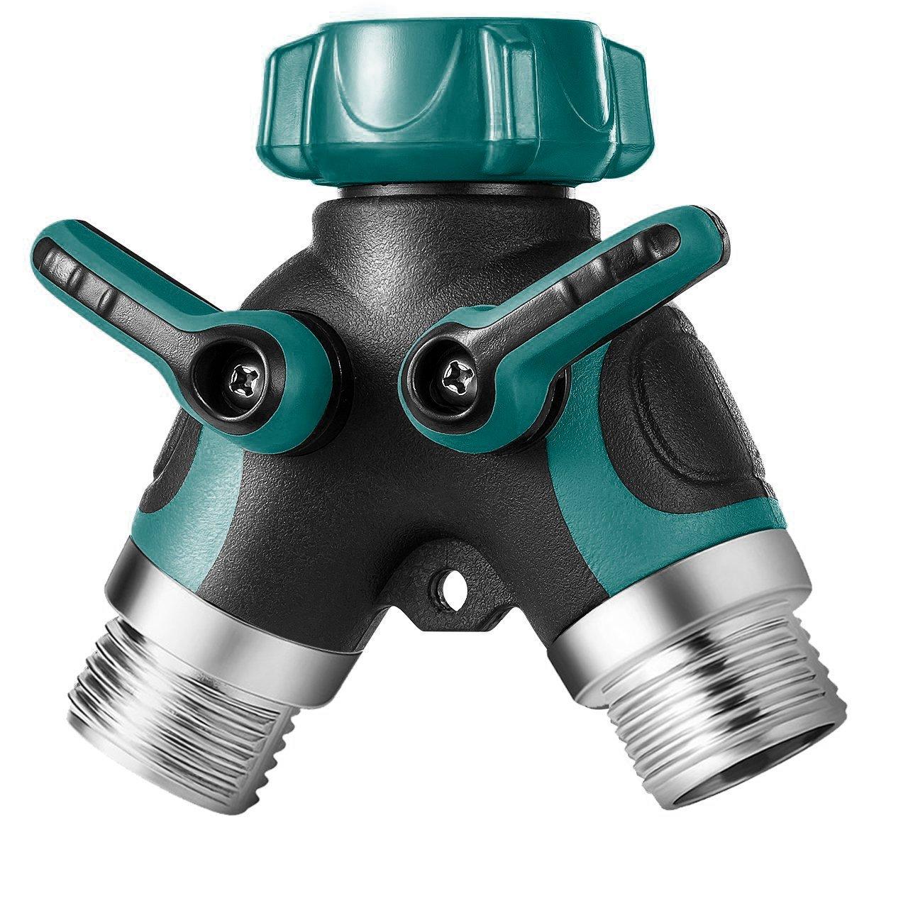 Elekin Y Hose Connector Garden Hose Splitter, 2 Ways Faucet Y Connetor 3/4'' Zinc Alloy Body, Fit with Outdoor Faucet, Comfortable Rubberized Grip (Invisible Green)