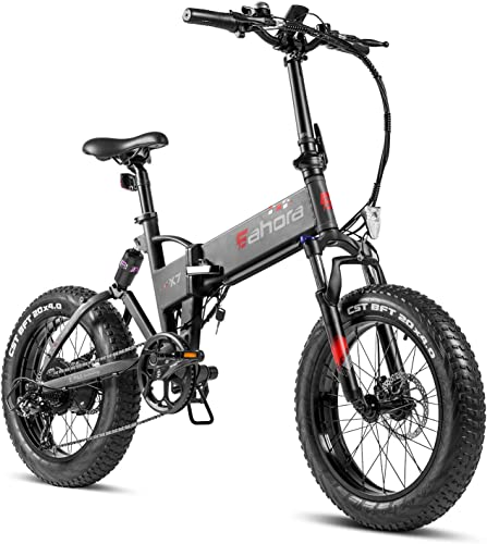 Eahora X7 Folding Fat Tire 48V 500W Electric Bicycle 10.4Ah Battery Snow Beach Electric Bike Full Suspension Professional All Terrain E-Bike for RV Commuter for Adults EPAS Max 80 Miles 7 Speed
