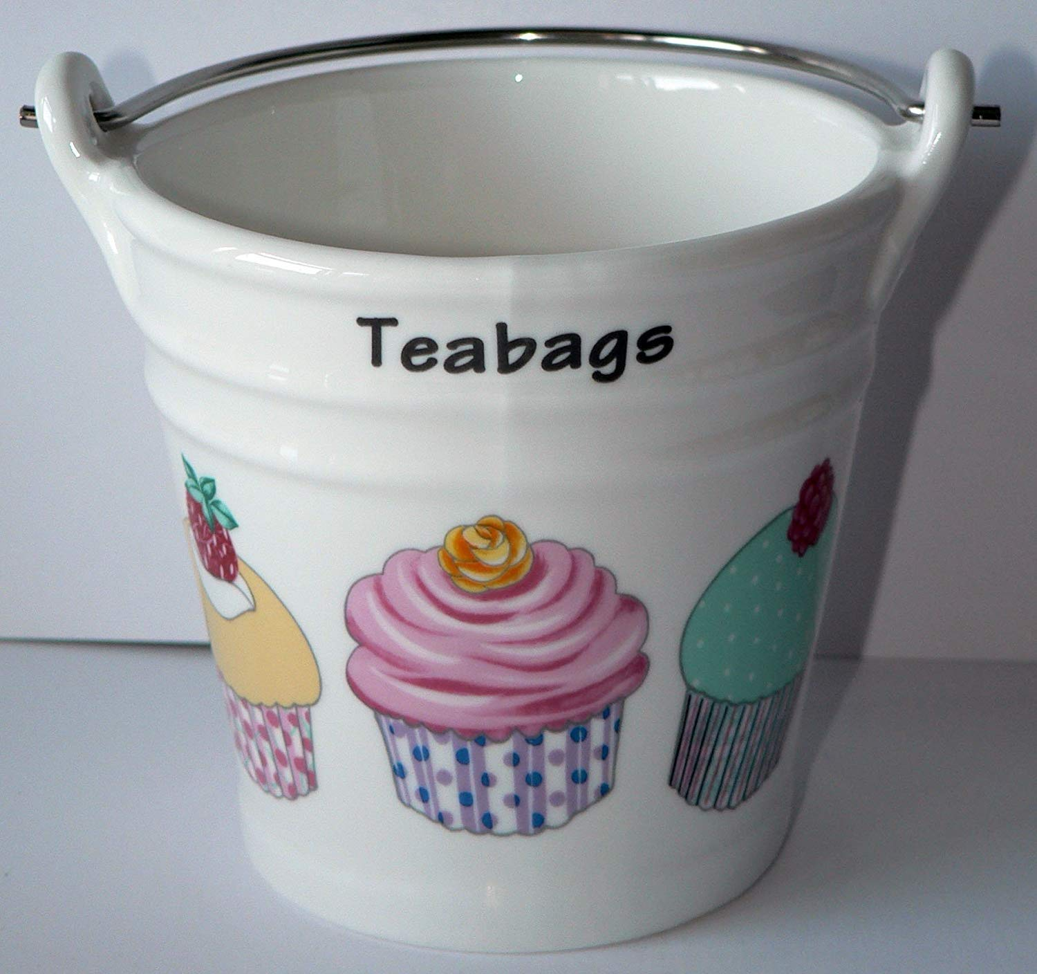 Cupcake Design Bucket Teabag Tidy, Porcelain Bucket Teabag Tidy crackinchina