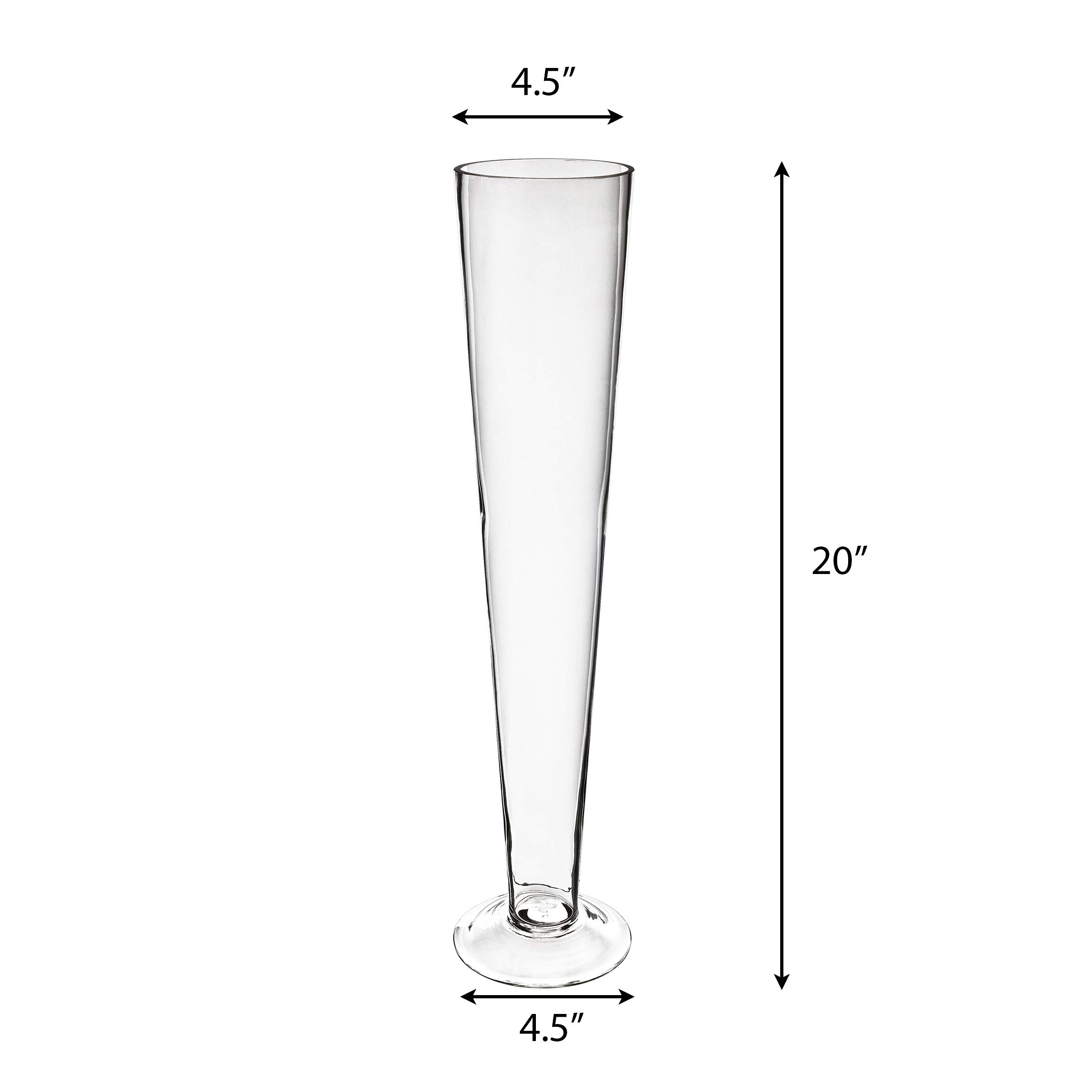 CYS EXCEL Pack of 6 Glass Trumpet Vase, Tapered Design Center Piece, Floral Display for Events & Weddings (Clear-4.5'' wide x 20'' tall)