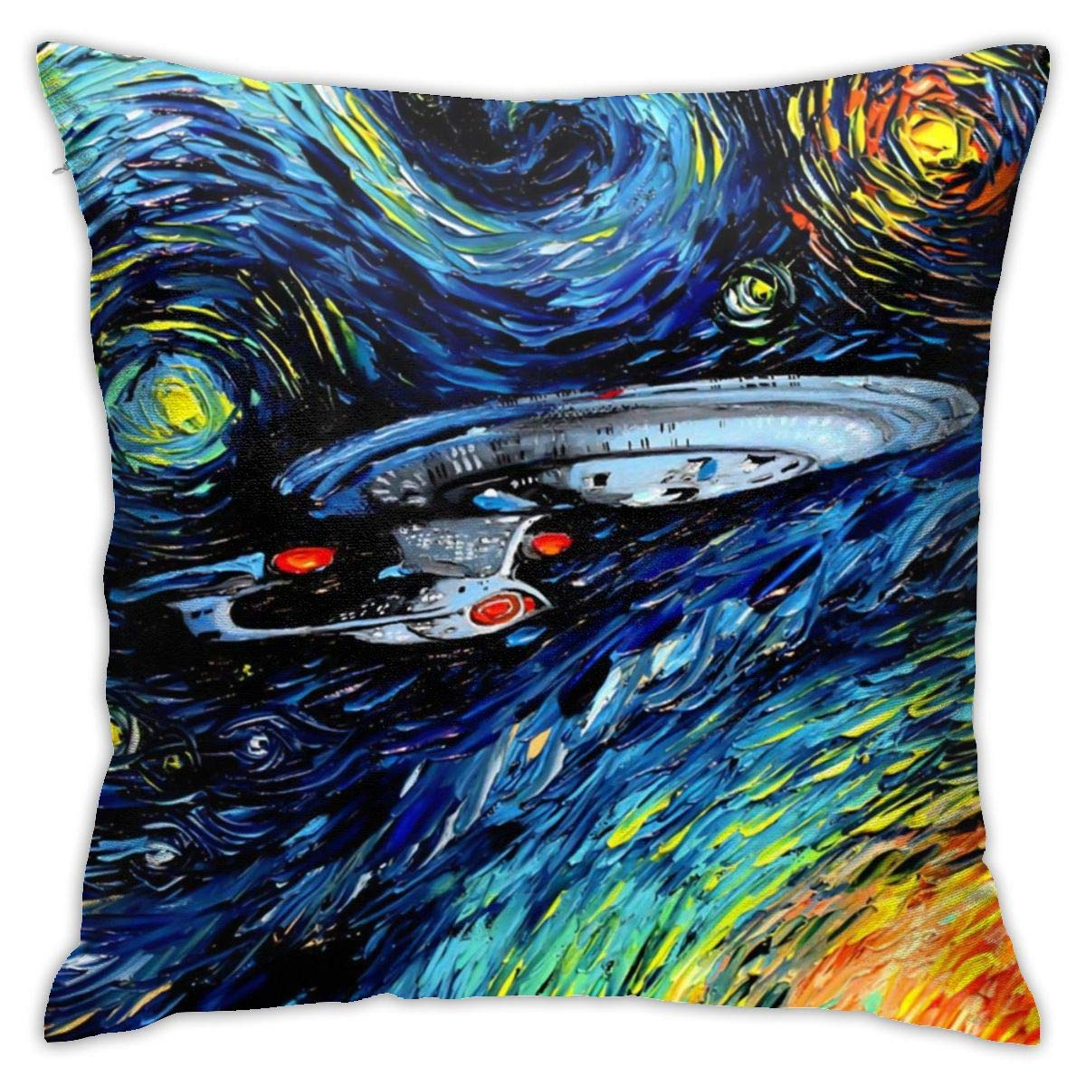 Fall Home Decorative Throw Pillow Covers 18x18 Inch, Allergy Control, Star Trek Oil Painting Art Pillow Case Cushion Cover for Office Holidays Halloween