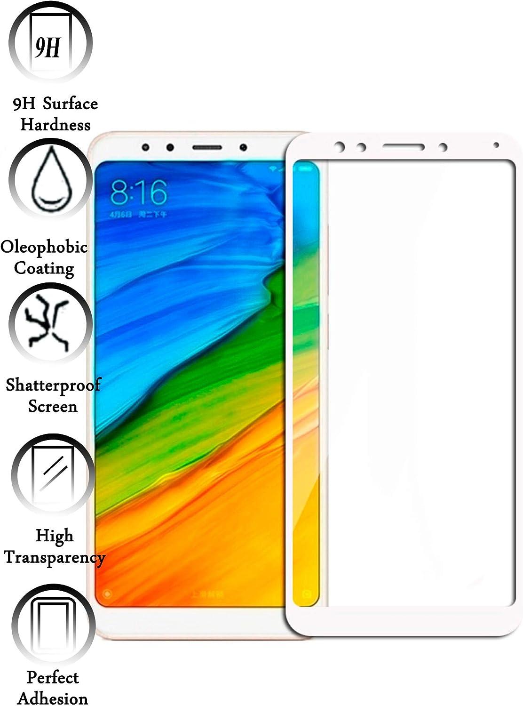 Todotumovil Protector de Pantalla Xiaomi Redmi 5 Plus Color Blanco Completo 3D Cristal Templado Vidrio Curvo para movil