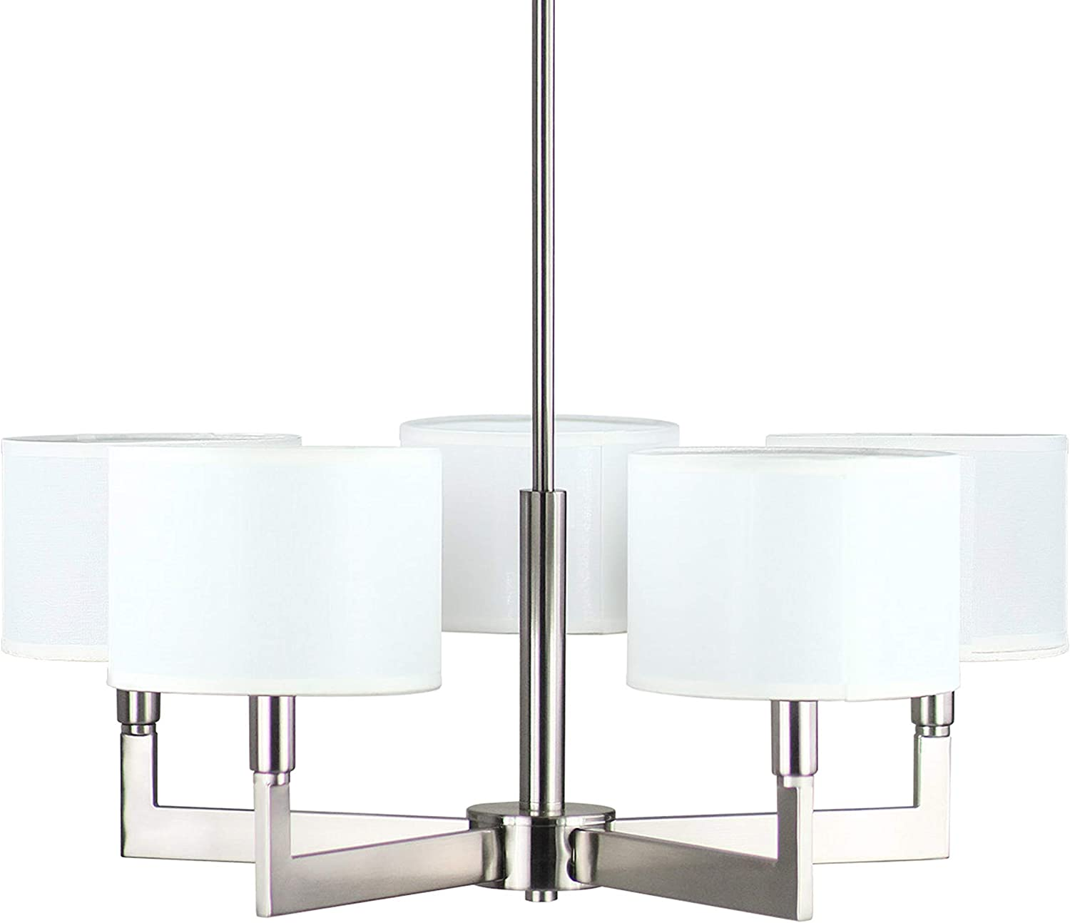 Allegro 5 Light Pendant Chandelier Brushed Nickel w Fabric Shade – Linea di Liara LL-C135-BN