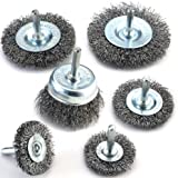 TILAX Wire Brush Wheel Cup Brush Set 6 Piece, Wire Brush for Drill 1/4 Inch Arbor 0.012 Inch Coarse Carbon Steel Crimped Wire