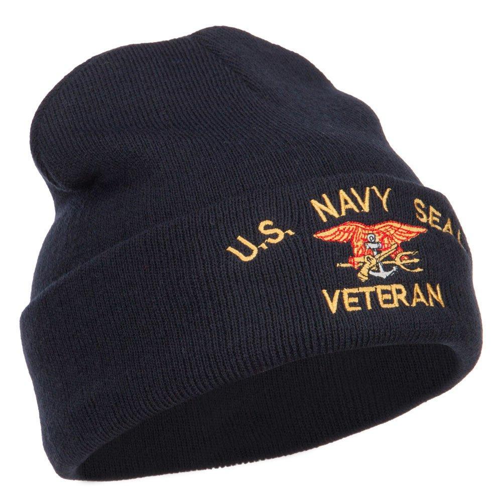 a290dfa18 Amazon.com: US Navy Seal Veteran Military Embroidered Long Beanie ...