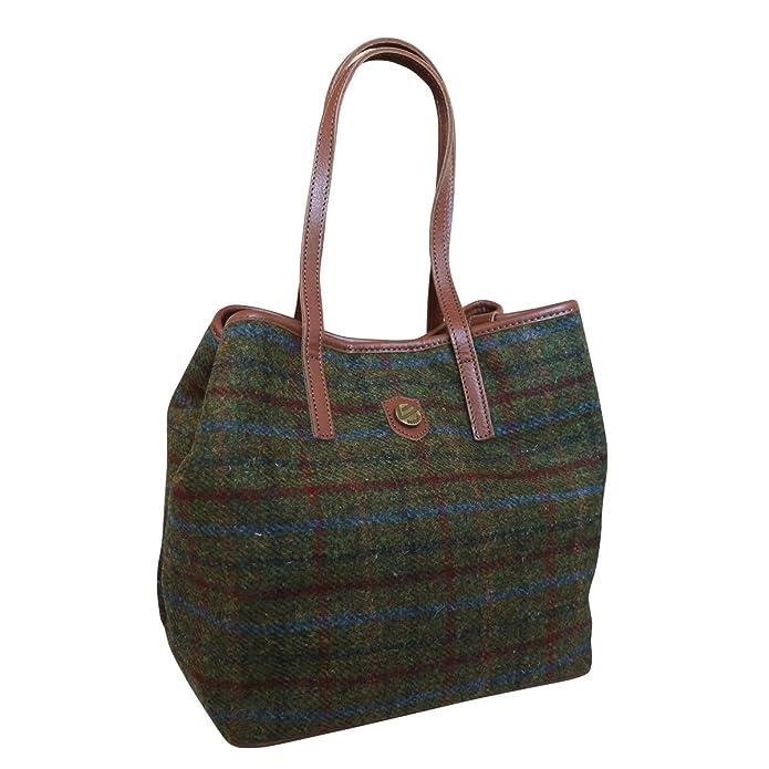 eb4785b276db Amazon.com  Bonfanti Leather and Traditional Harris Tweed Tote Shopper  Handbag - Tartan (green)  Clothing