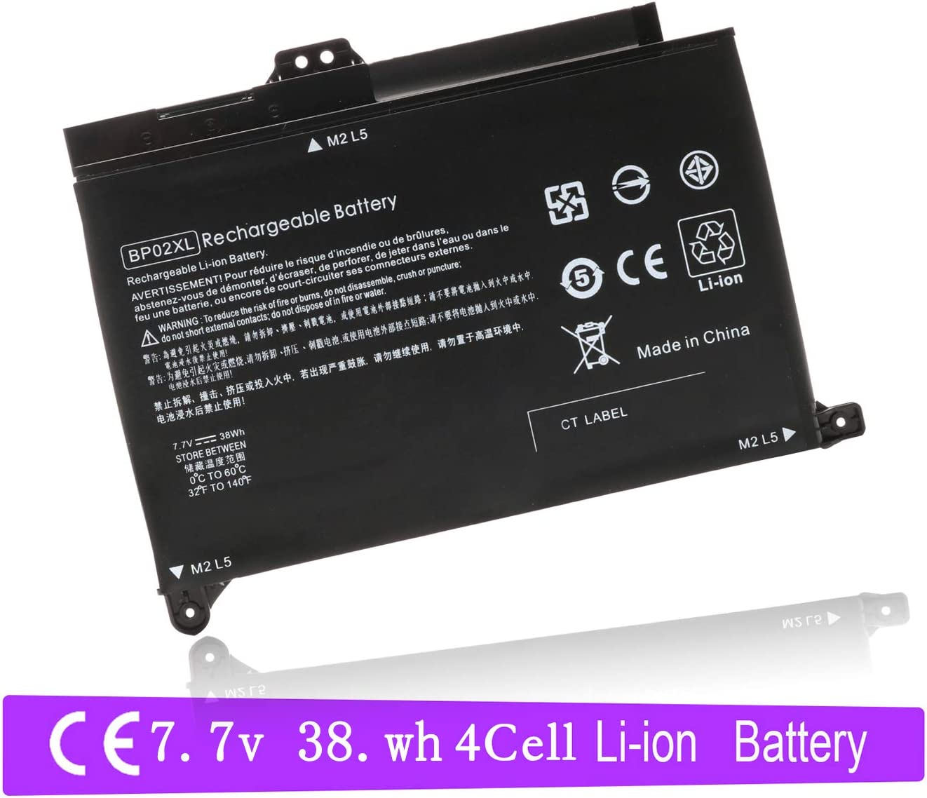 BP02XL 849909-850 Laptop Battery for HP Pavilion PC 15 15-AU000 15-AU010WM 15-AU018WM 15-AW000 15-AW053NR Series HSTNN-LB7H HSTNN-UB7B BP02041XL 849569-421 849569-542
