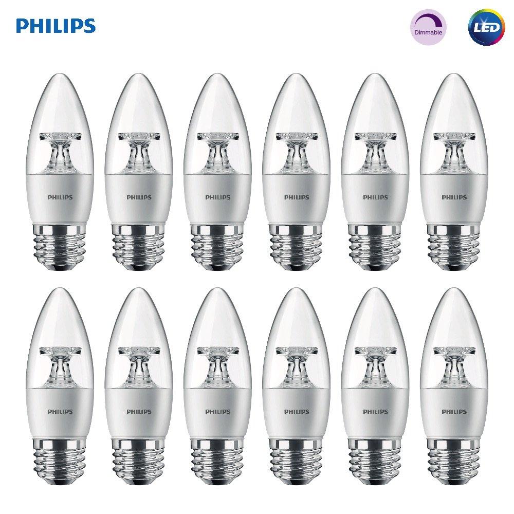 Philips LED Dimmable B11 Clear Candle Light Bulb: 300-Lumen, 2700-Kelvin, 4.5-Watt (40-Watt Equivalent), E26 Base, Soft White, 12-Pack