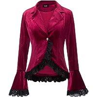 SCARLET DARKNESS Women Victorian Coat Gothic Long Sleeve Lapel Collar Lace Trim Velvet Coat