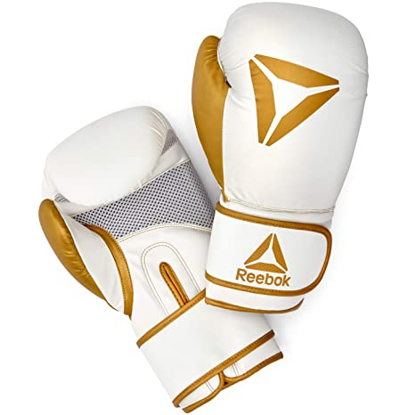 e3d8001ff3b Amazon.com   Reebok Boxing Gloves - Gold White   Sports   Outdoors