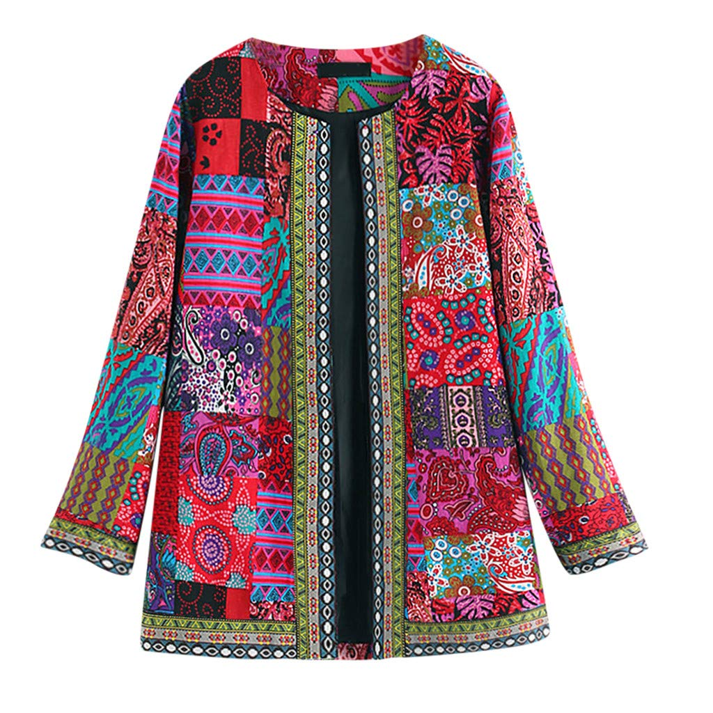 Lataw Women Clothes Jacket Vintage Ethnic Style Floral Print Long Sleeve Plus Size Cotton Cardigan Coat Tops Outerwear Costume by Lataw
