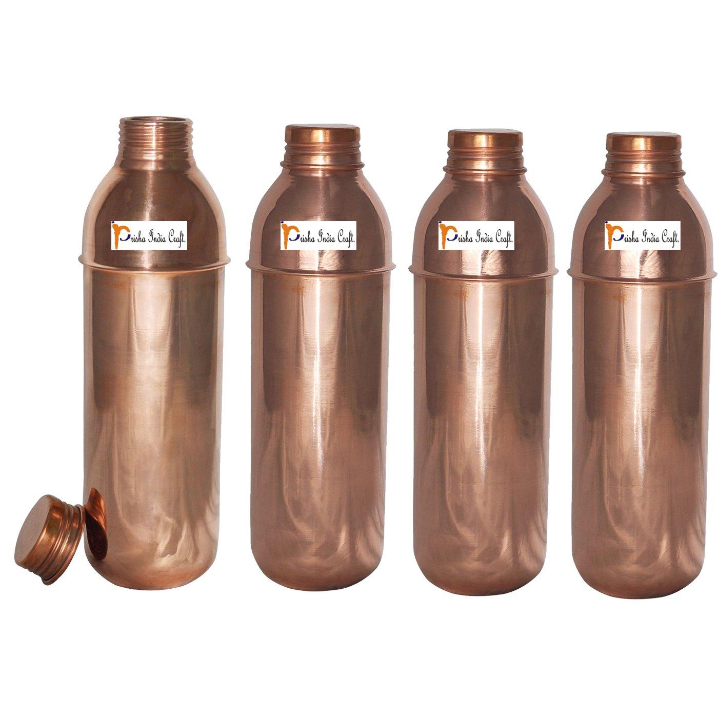 Prisha India Craft (Set of 4) Copper New Bislery Stylish Bottle with Ayurvedic benefited - 800 ML / 27 oz Thermos Bottles - 100% Genuine Copper Water Bottles