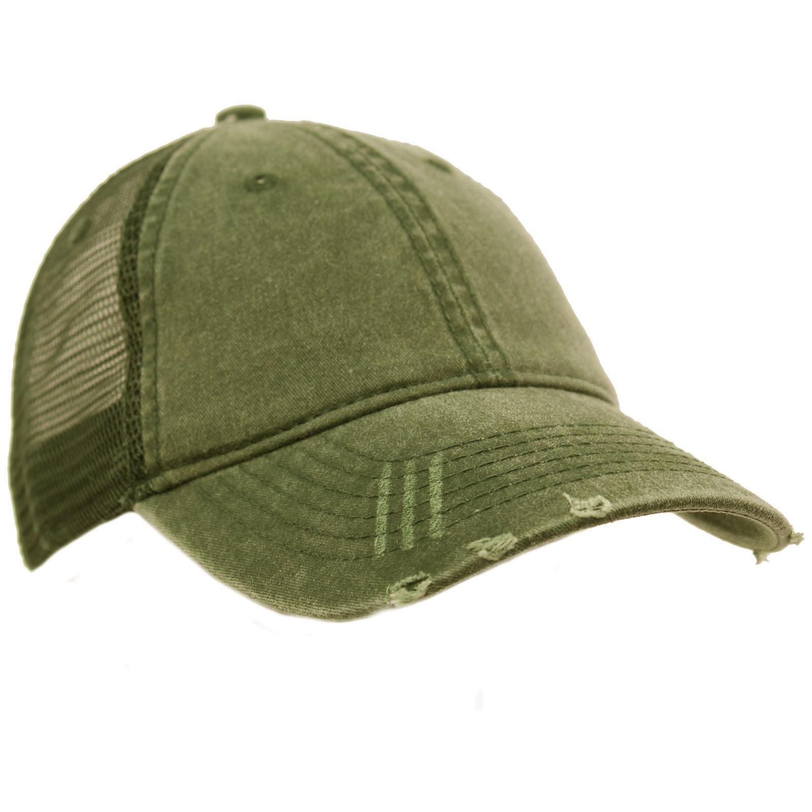 Unisex Distressed Low Profile Trucker Mesh Summer Baseball Sun Cap Hat Olive