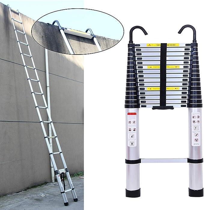 Escaleras plegables multiusos de aluminio plegable extensible de 16.5 pies, 13 escalones, capacidad de 150 kg para trabajo, tienda, oficina, techo, trabajo, decoración interior y exterior: Amazon.es: Bricolaje y herramientas