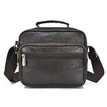 0717f9d155 Da uomo In vera pelle di capra messenger bag valigetta da viaggio Business  borsa a tracolla marrone Horizontal: Amazon.it: Elettronica