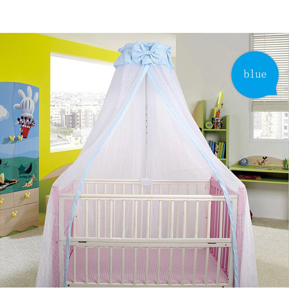 CdyBox Breathable Crib Netting Bed Curtains Canopy for Kids Mosquito Net Bedroom Decor (Blue, Mosquito net+Stand) by CdyBox (Image #1)