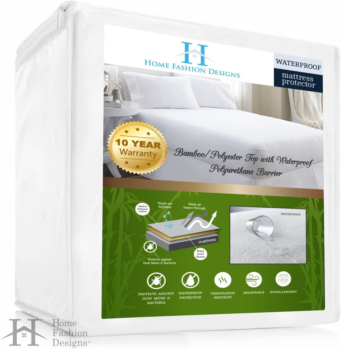 Home Fashion Designs Bamboo Hypoallergenic Waterproof Mattress Protector (Queen)