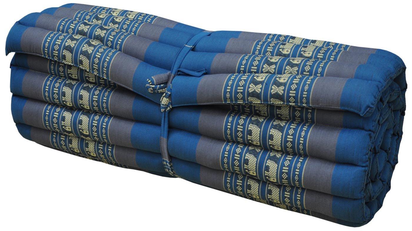 Thai mattress big size (75/180), blue/grey, relaxation, beach cushion, pool, meditation, yoga (81714)