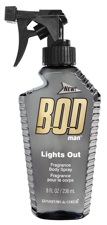 BOD Man Fragrance Body Spray, Lights Out, 8 Fluid Ounce BODL8M