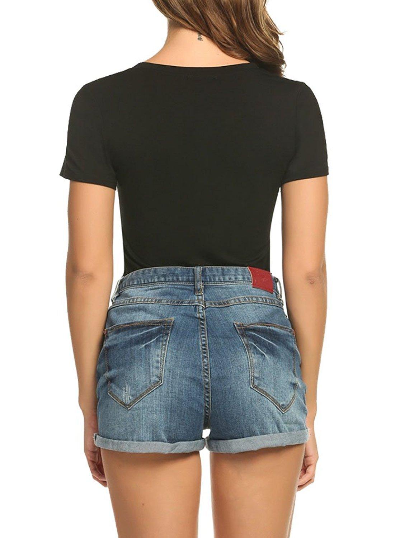 ECOLIVZIT Juniors V-Neck Short Sleeve T Shirt Casual Tees Tops LOVE Print