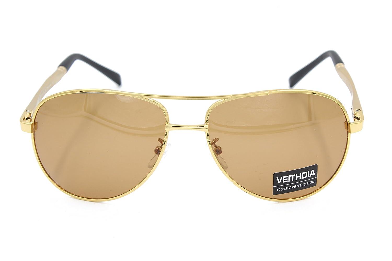 Veithdia® 1306 nuevo Fashion Golden ajustable UV400 polarizadas gafas de aviador: Amazon.es: Ropa y accesorios