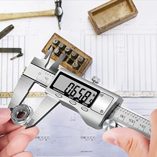 Inch//Millimeter Conversion 0-6 Inch//150 mm Electronic Digital Vernier Caliper HURRISE Auto Off Featured Stainless Steel Body Measuring Gauge Tool with Extra Large LCD Screen