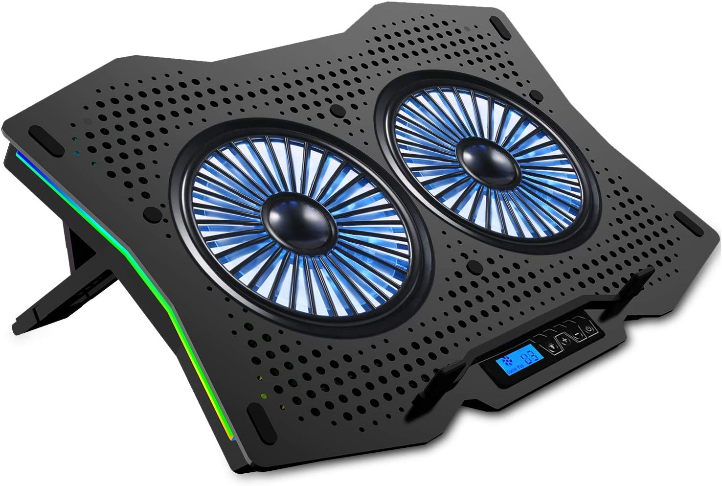 """AICHESON Laptop Cooling Cooler Pad for 15.6"""" - 17.3"""" Notobooks, RGB Lights, Metal Panel, 2 Big Turbofans"""